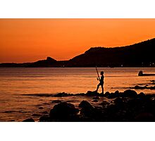 Lonely Fisherman At Sunset Photographic Print