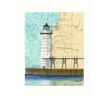 Manistee Lighthouse MI Nautical Chart Cathy Peek Art Print