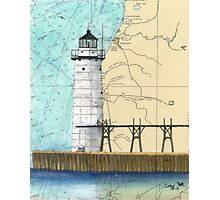 Manistee Lighthouse MI Nautical Chart Cathy Peek Photographic Print