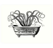 Tentacles in the Tub | Octopus | Black & White Art Print