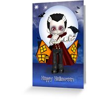 fun vampire halloween greeting card with bats and crow Greeting Card