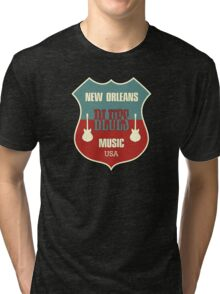 Vintage New Orleans Blues  Tri-blend T-Shirt