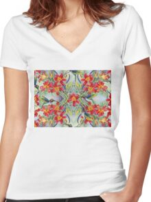 Waltzing Lilies Tile  Women's Fitted V-Neck T-Shirt
