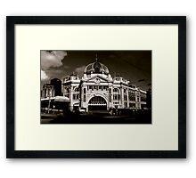 Flinders St Station - Sepia Framed Print