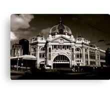 Flinders St Station - Sepia Canvas Print