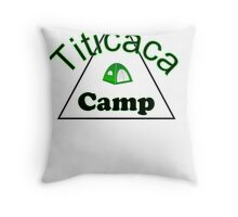 Titicaca camp ground funny campy trucker tee Throw Pillow
