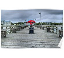 Unbrella on pier Poster