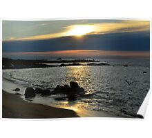 Landrellec sunset, Cote de granit rose, Brittany, France Poster