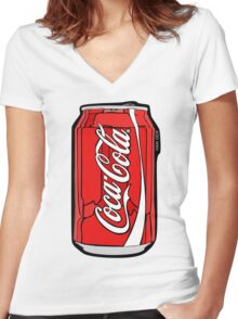 Coca-Cola Coke Can Women's Fitted V-Neck T-Shirt