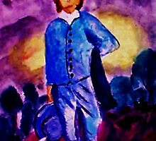 Blue Boy, watercolor by Anna  Lewis