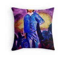 Blue Boy, watercolor Throw Pillow