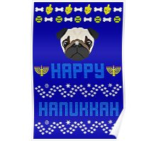 Pugly Hanukkah Ugly Christmas Sweater Style Poster