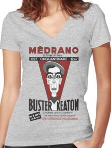 Buster Keaton in Paris Women's Fitted V-Neck T-Shirt