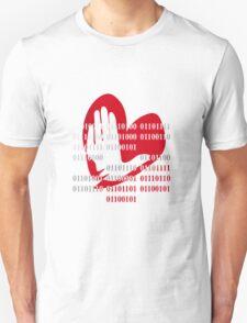 Heart love peace binary code design Unisex T-Shirt