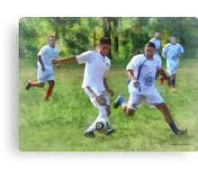 Kicking Soccer Ball Canvas Print