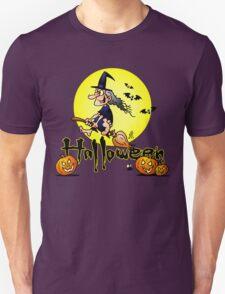 Halloween, witch on a broom, bats and pumpkins Unisex T-Shirt
