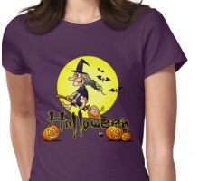 Halloween, witch on a broom, bats and pumpkins Womens Fitted T-Shirt