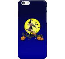 Halloween, witch on a broom, bats and pumpkins iPhone Case/Skin