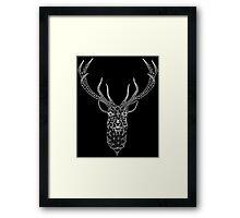 White Christmas Modern Geometric Deer  Framed Print