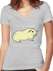 Guinea pigs are pretty cool. Women's Fitted V-Neck T-Shirt