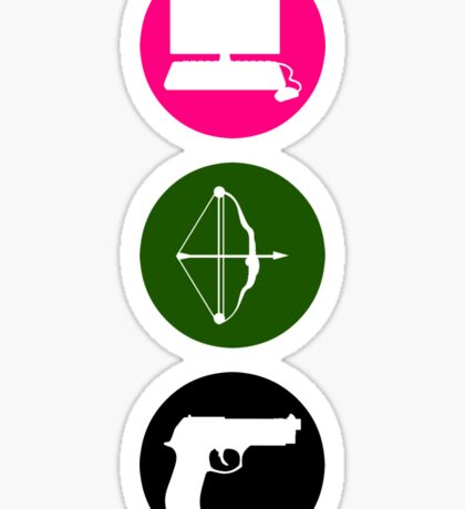 Team Arrow - Colorful Symbols - Weapons Sticker