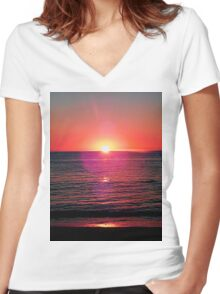 Cyprus Sunset Women's Fitted V-Neck T-Shirt