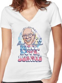Peace Love Bernie Sanders 2016 Women's Fitted V-Neck T-Shirt