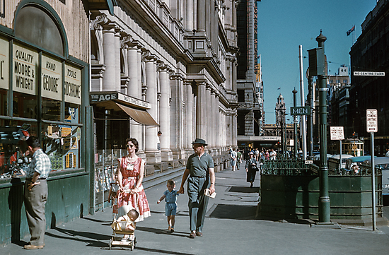 Pedestrians at end of Post Office next to Tin Shed Elizabeth street 196102000010 by Fred Mitchell