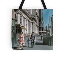 Pedestrians at end of Post Office next to Tin Shed Elizabeth street 19610200 0010 Tote Bag