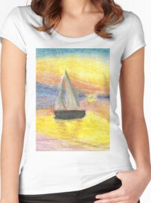 Sunset-Sailboat Women's Fitted Scoop T-Shirt