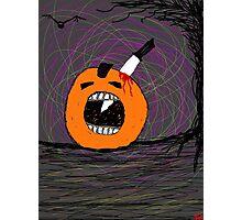 """ psychotic break Pumpkin Carving""  Halloween Tia Knight Photographic Print"