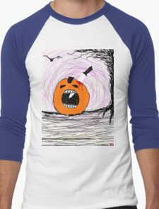 """ psychotic break Pumpkin Carving""  Halloween Tia Knight Men's Baseball ¾ T-Shirt"