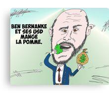 Chef du US Fed Ben BERNANKE en caricature Canvas Print