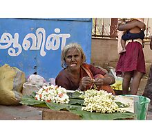 flower selling woman Photographic Print