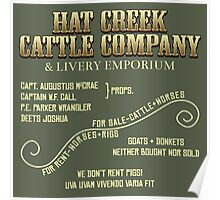 Hat Creek Cattle Company Sign Poster