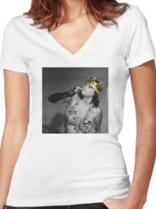 Emily Youcis Queen Print Women's Fitted V-Neck T-Shirt
