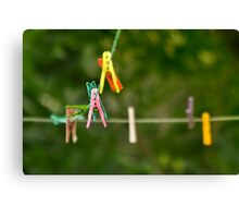 Cloth Pins On The Line Canvas Print