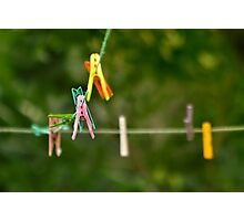Cloth Pins On The Line Photographic Print