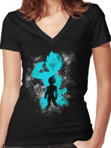 super saiyan blue vegeta grunge Women's Fitted V-Neck T-Shirt
