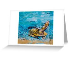 india ink blue and gold  Greeting Card