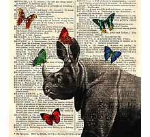 Antique Dictionary Rhinoceros Butterfly Print Photographic Print