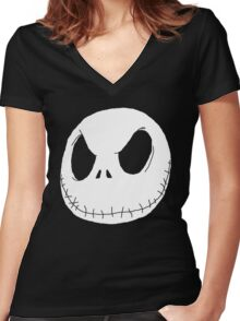 Jack Skellington (White) Women's Fitted V-Neck T-Shirt