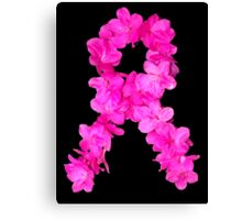 Azalea Flower Arrangement Photo Breast Cancer Awareness Ribbon Canvas Print