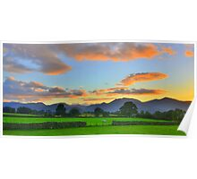 The Lake District: Evening Light Over the Fells Poster