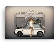 Honda N600 Rally Kei Car With Japanese 60's Asahi Pentax Commercial Girl Canvas Print