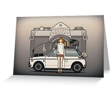 Honda N600 Rally Kei Car With Japanese 60's Asahi Pentax Commercial Girl Greeting Card