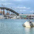 Boat sunk at Potter's Cay in Nassau, The Bahamas by 242Digital