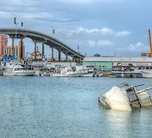 Boat sunk at Potter's Cay in Nassau, The Bahamas by Jeremy Lavender Photography