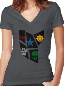 Black Rock icons Women's Fitted V-Neck T-Shirt