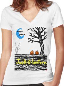 halloween jack o lantern Tia Knight Women's Fitted V-Neck T-Shirt
